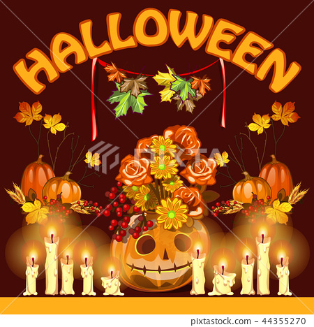 Poster on theme of Halloween holiday party or greeting card on theme of golden autumn. Fallen autumn 44355270