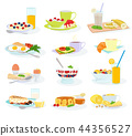 Breakfast vector morning food healthy meal egg cereal cake and pancake with orange juice and coffee 44356527