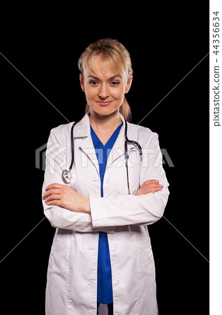 Attractive doctor with statothcop 44356634