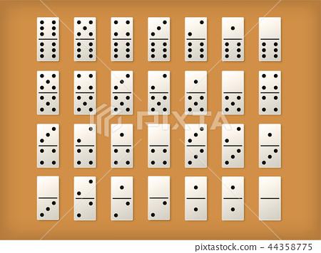 Dominoes tiles or vector white domino mockups 44358775