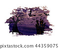 Halloween background with witch, castle, bats moon 44359075