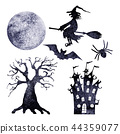 Halloween silhouettes. Set of watercolor elements 44359077