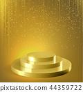 Golden podium glitter confetti vector background 44359722
