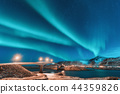 Northern lights above bridge with illumination  44359826