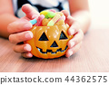 Happy Halloween with candy and pumpkin for party. 44362575
