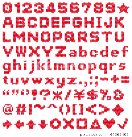 Knitting_thick yarn_alphabet_red letters_transparent_180928 44363403