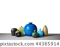 Set of vases on the table and gray walls 44365914