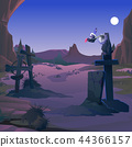 A vulture sits on a grave cross on the old cemetery in the twilight by the light of the full moon 44366157