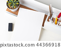 white paper note on modern office stationery 44366918