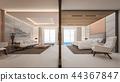 Luxury suite room with view of sea , 3d rendering 44367847