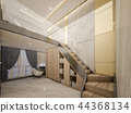 luxury decoration in loft bedroom with golden wall 44368134