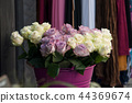 closeup of pink roses bouquet at the florist 44369674