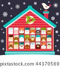 christmas, calendar, template 44370569