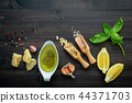 The ingredients for green pesto sauce . 44371703