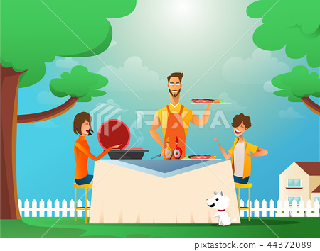 Happy family eating barbecue outdoor. Man, woman and kids cooking and grilling on summer holiday 44372089