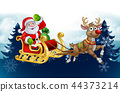 Santa Sleigh Reindeer Christmas Cartoon Background 44373214