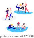 Fit women exercising. Young females athletes doing fitness workout. 44373998