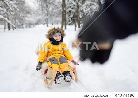 Little boy enjoying a sleigh ride 44374496