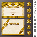 certificate, vector, frame 44374837