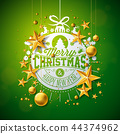 Merry Christmas Illustration with Gold Glass Ball, Star and Typography Elements on Green Background 44374962