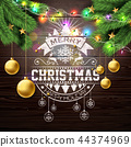 Merry Christmas Illustration with Gold Glass Ball, Pine Branch and Typography Elements on Vintage 44374969