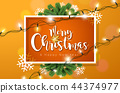 Merry Christmas Illustration with Lights Garland and Typography Elements on Orange Background 44374977