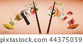 food, sushi, chopsticks 44375039