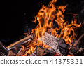 Flaming Logs, fire flames background. 44375321