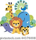 動物 大象 長頸鹿 44376008