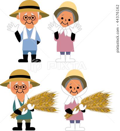 농가의 노부부 44376162