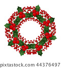 Red Berry Christmas Wreath isolated on White. 44376497