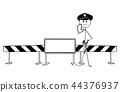 Hand Drawing of Policemen Standing Near Road Block With Empty Sign 44376937