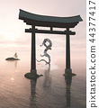 Oriental Dragon in the Sea Mist Behind a Shrine Ga 44377417