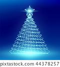 Christmas Tree with Star wireframe polygon bokeh 44378257