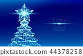 Christmas Tree with Star wireframe polygon bokeh 44378258