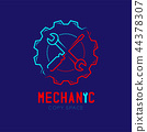 Mechanic logo icon, wrench and screwdriver in gear 44378307