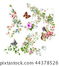 watercolor painting of leaves and flower,Butterfly 44378526