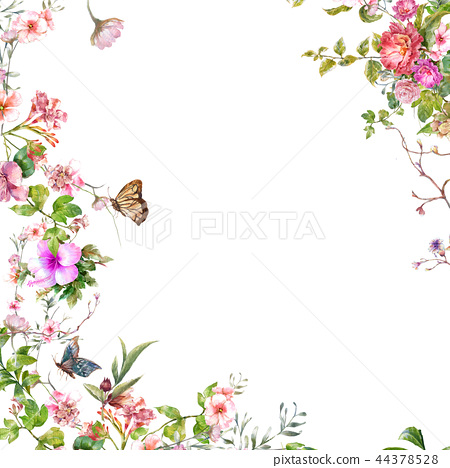 watercolor painting of leaves and flower,Butterfly 44378528