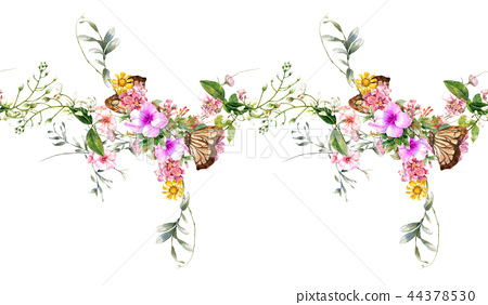 Watercolor painting of leaf and flowers, seamless  44378530