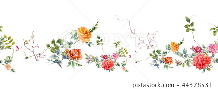 Watercolor painting of leaf and flowers, seamless  44378531