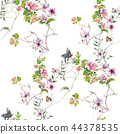 Watercolor painting of leaf and flowers, seamless  44378535