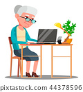Elderly Woman Sitting At Table And Working With Laptop Vector. Isolated Illustration 44378596