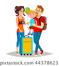 Young Family Traveling With A Small Child Vector. Isolated Illustration 44378623