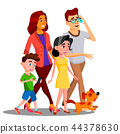 Family Walking, Spending Time Together Outdoor Vector. Isolated Illustration 44378630