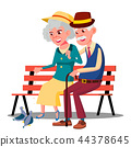 Senior Age Family Couple Sitting On A Bench And Talking Vector. Isolated Illustration 44378645