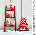 Ladder with Christmas candles and red tree 44379065