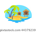 Cute Island in Exotic Country Vector Illustration 44379239