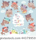 Set with cute little deers on winter background 44379950