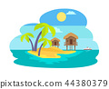 Island with Palms and Bungalow Vector Illustration 44380379