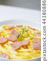 Closeup pasta carbonara with ham and cheese 44380886